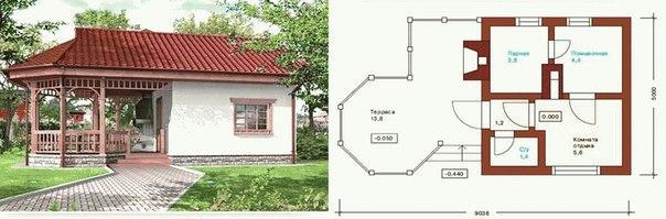 Баня и беседка под одной крышей